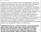 Carta de los profesores de la Autónoma Metropolitana ante las detenciones del 20N (México)