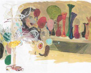 La obra: Jarrones de colores (2007)  La composición, vibrante de alegría y color, se estructura en el juego de las verticales de los jarrones que dan nombre a la obra, y las horizontales que acentúan su fuerza a partir de la franja gris que parte de la derecha y conduce nuestra mirada al rostro femenino, burlón y risueño, y semioculto por las manchas de color que la atraviesan, en un espacio que se nos muestra como el reflejo de un espejo, y que deja entrever una expresión plástica llena de humor y de ironía.   La artista: Elena Blasco (Madrid, España, 1950)  Artista ecléctica, utiliza en su obra materiales y técnicas diversas, pasando de la pintura a la escultura, la fotografía o la instalación. Terminó en 1974 la licenciatura de Bellas Artes, en la Universidad Complutense de Madrid, y realizó su primera exposición en 1976, aunque no es hasta los años 90 cuando comienza a valorarse su obra, independiente y alejada de los istmos del momento, convirtiéndose en un referente para las nuevas generaciones, también por su cuestionamiento crítico de  tópicos y prejuicios y su feminismo militante. Ha realizado un gran número de exposiciones tanto en España como en Europa y en 2012 se realizó una exposición retrospectiva, en la sala Alcalá 31 de Madrid, que recogía más de veinte años de trabajo que ha combinado con su vocación docente en la Escuela de Artes y Oficios de Madrid. También es miembra de la Asociación de Mujeres en las Artes Visuales (MAV).     REFERENCIA CURRICULAR Pilar Muñoz López  es Licenciada en Historia Moderna y Contemporánea y Licenciada en Bellas Artes. Doctora en Bellas Artes por la Universidad Complutense de Madrid. Profesora de la Facultad de Formación del Profesorado y Educación de la Universidad Autónoma de Madrid. Además de crítica de arte y experta en mujeres artistas, ella misma es pintora y ha realizado numerosas exposiciones.