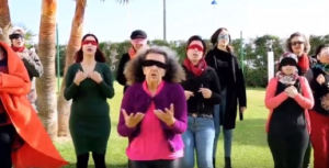 """Foto: imagen de la versión marroquí del himno """"El violador eres tú"""". Video: https://www.youtube.com/watch?v=WDvgS8E2ae8&feature=youtu.be."""