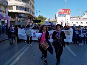 Khadija en la Marcha por las mujeres en Rabat (2000)